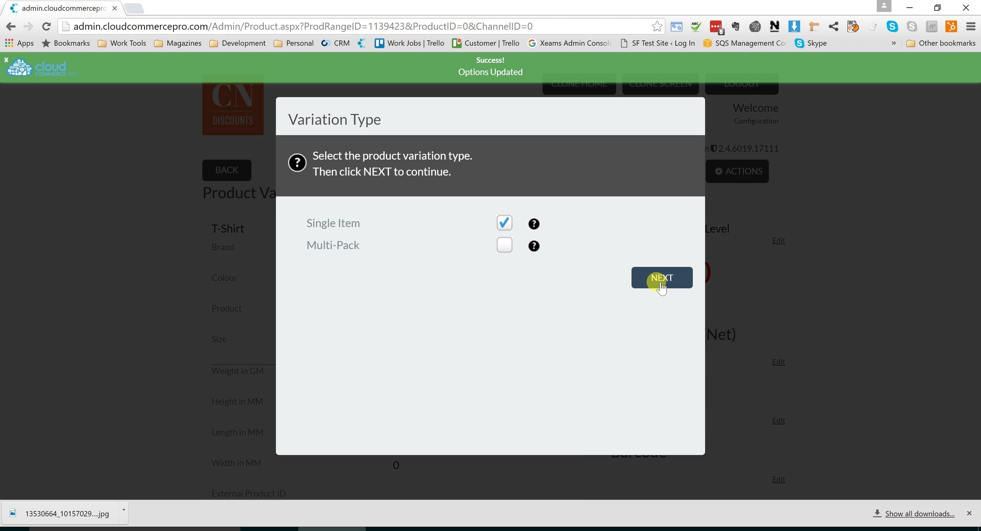 7. Click next to create a single variation