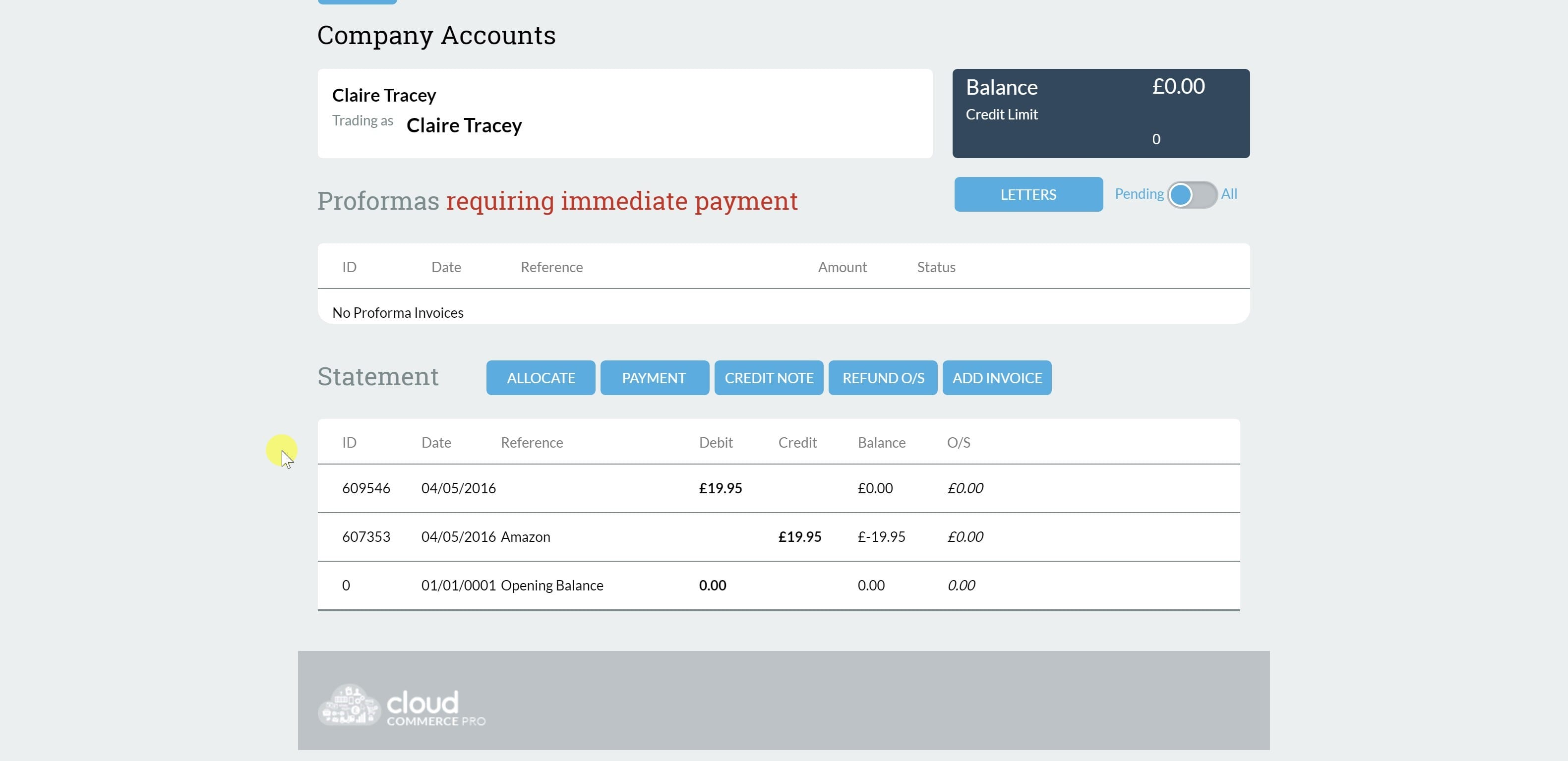 2. List of invoices and credits