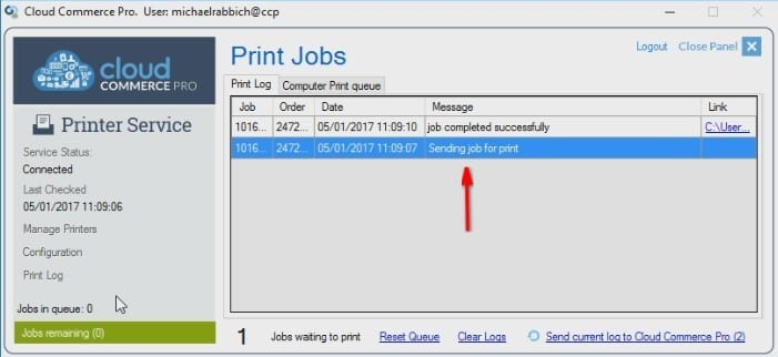 Viewing Active Jobs In The Print Log