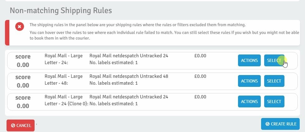 Non-matching shipping rules