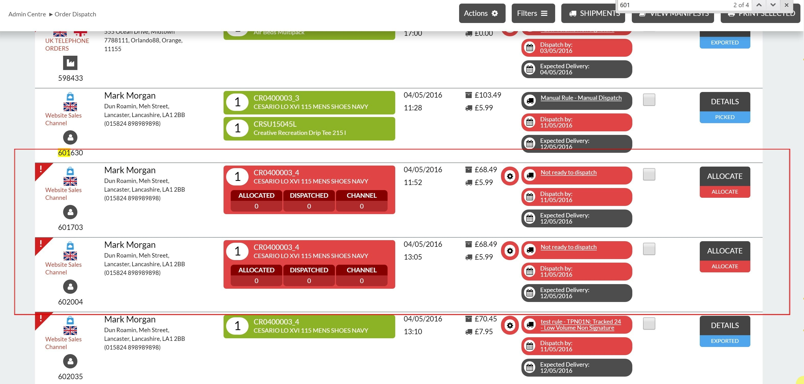 1. Order shown in red have no stock allocated against them