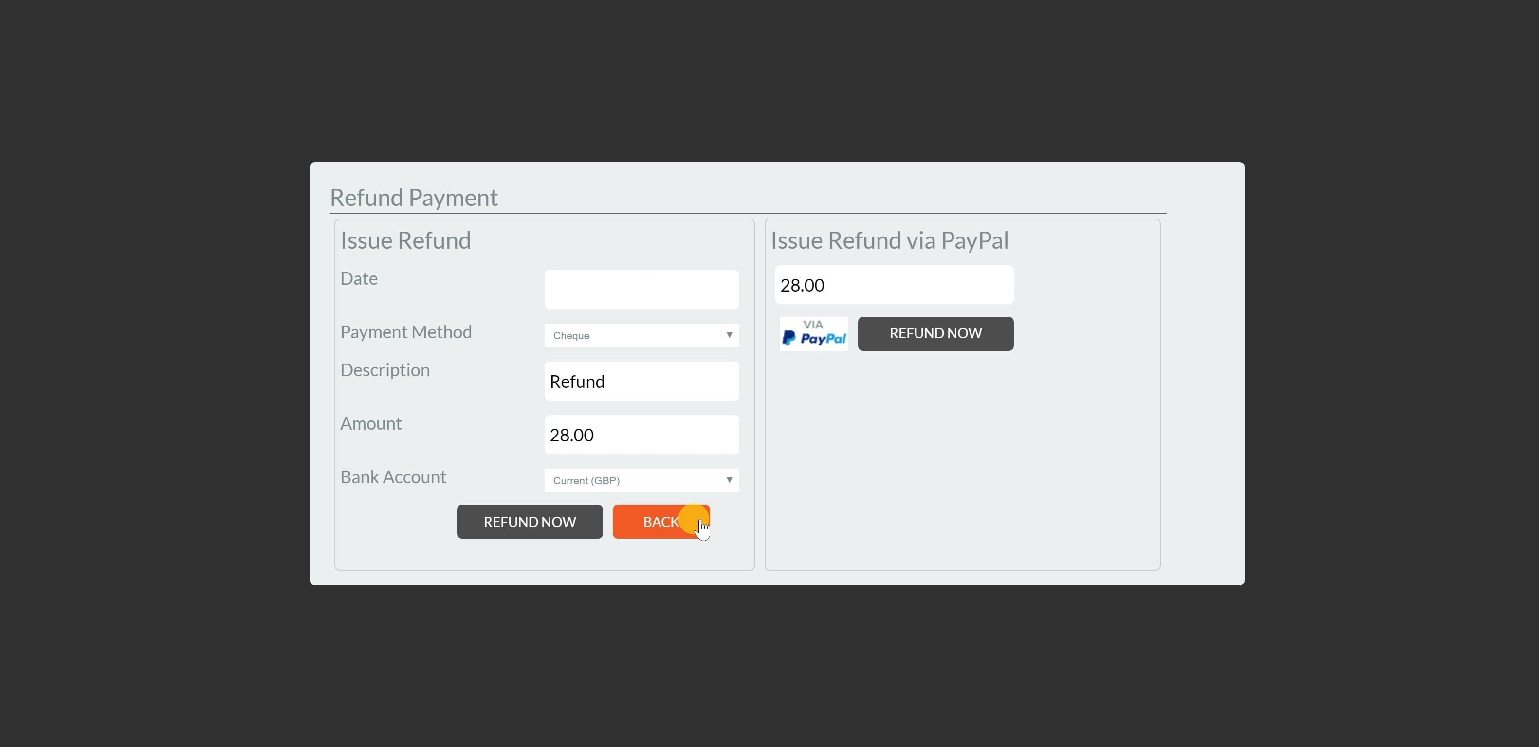 4. Enter the refund amount