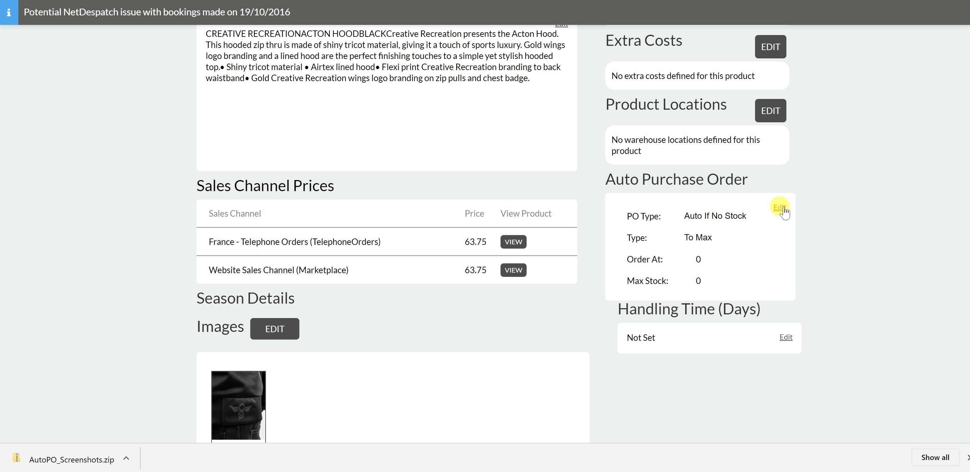 4. Click edit on the Auto Purchase Order Section