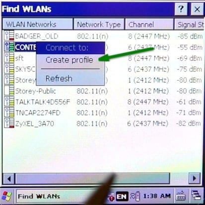 Symbol 3200 Barcode Scanner - Connecting to WiFi Network