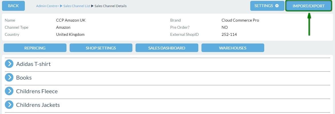 Sales Channel Details