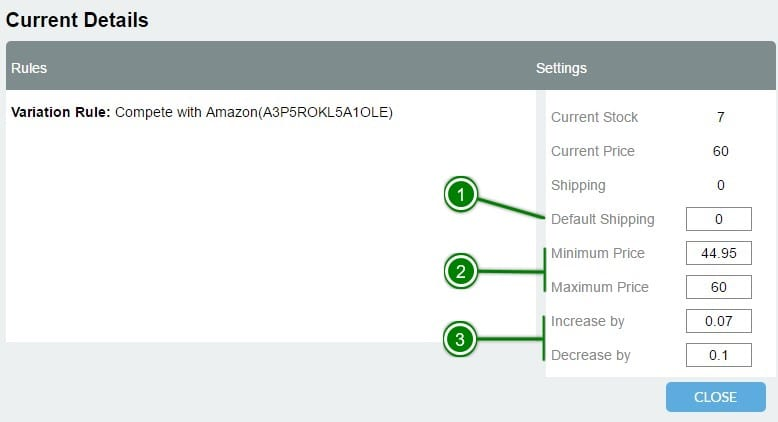 7. Repricing - Actions: Edit Item Details