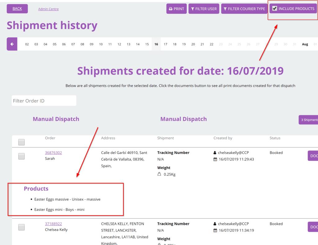 ShipmentHistory
