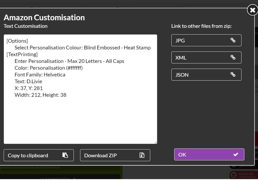 Amazon Customisation Control Panel
